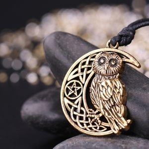 Jewelry - Pentagram Crescent Moon Pendant Owl Necklace